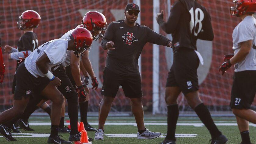 San Diego State cornerbacks coach Demetrius Sumler provides instruction as the cornerbacks run drills with wide receivers.