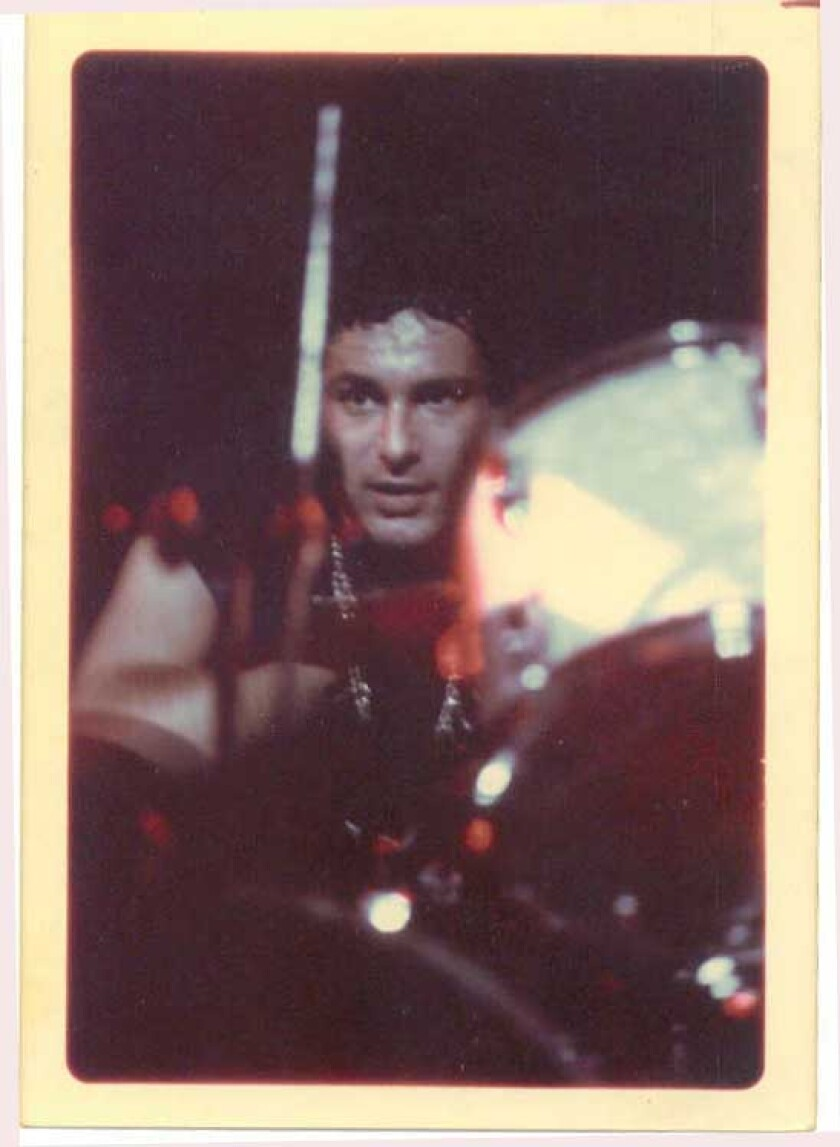 Len Fagan drumming at the Whisky A Go Go with his band Stepson, circa 1973.