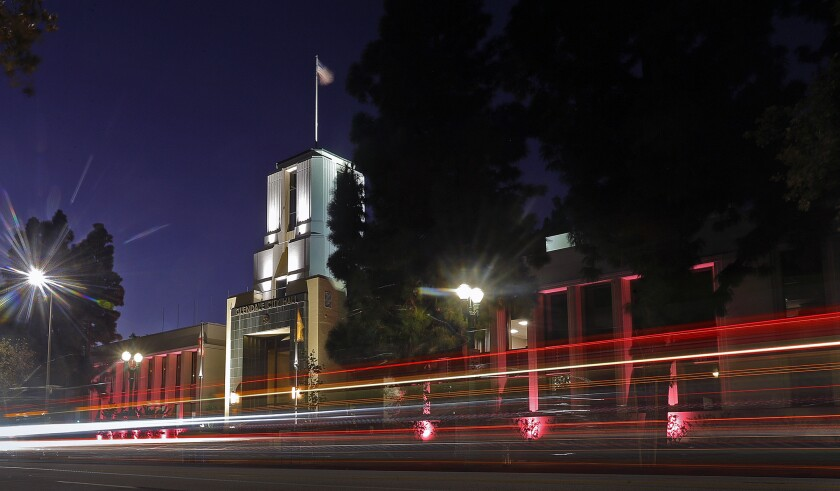 Glendale City Hall and the police department's headquarters will be illuminated by pink lighting every night in October as part of Breast Cancer Awareness Month to help encourage people to undergo regular screenings for the disease.