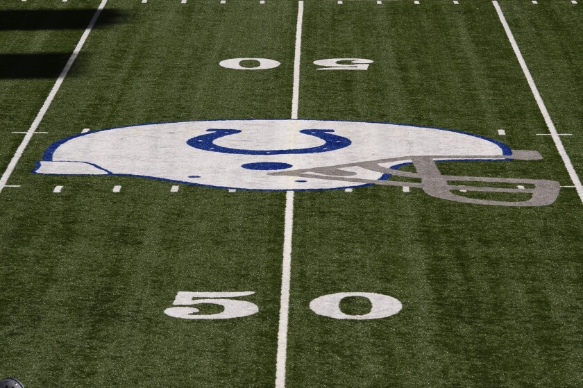 The Indianapolis Colts logo at midfield
