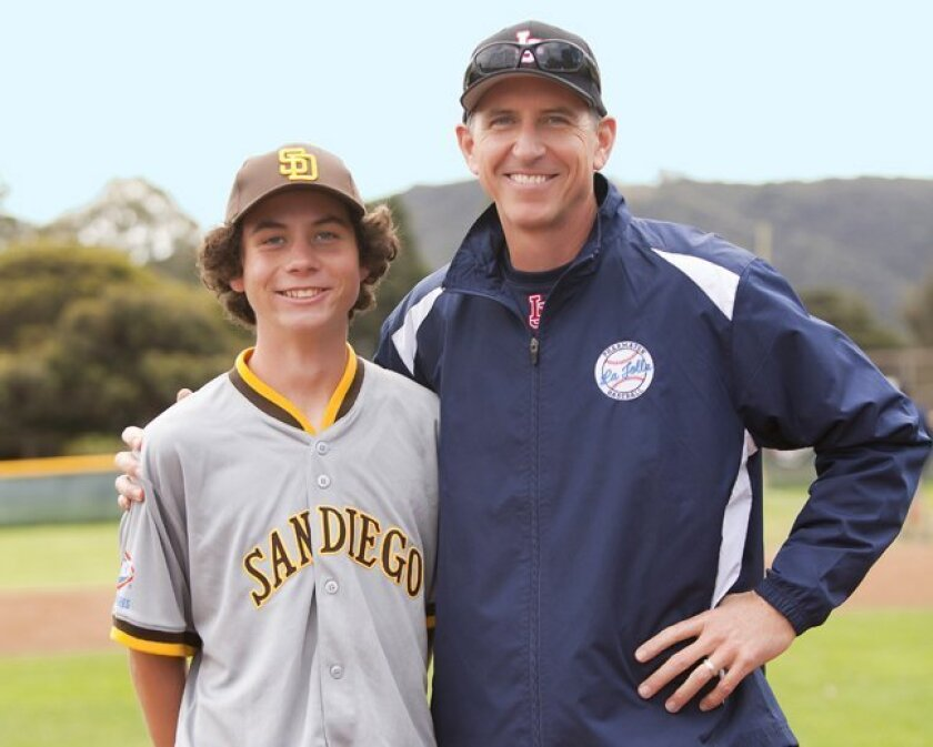 """""""Decade"""" player Marcus Scott and his father, Tim, manager of Pharmatek team in Pony and former LJYB president. (La Jolla Youth Baseball, Opening Day Feb. 28, 2015, Cliffridge Park)"""