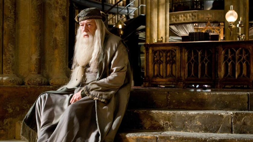 In this film publicity image released by Warner Bros., Michael Gambon portrays Albus Dumbledore in