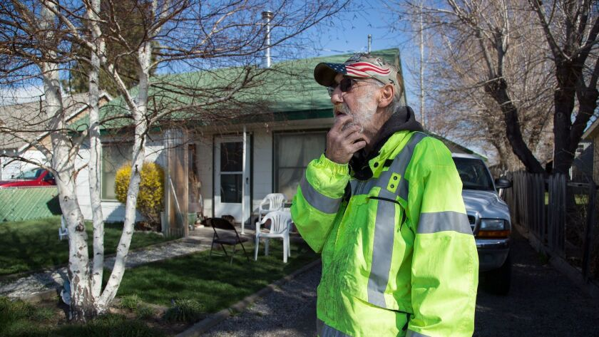 LOYALTON, CA - MARCH 31, 2017: Orville McGarity, 72, a retired Loyalton city worker, is among four r