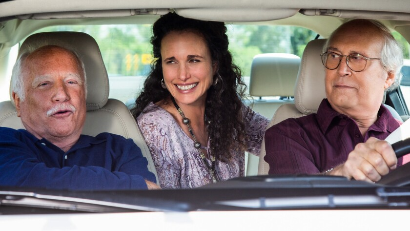 """Richard Dreyfuss, left, Andie MacDowell and Chevy Chase in the comedy """"The Last Laugh."""""""