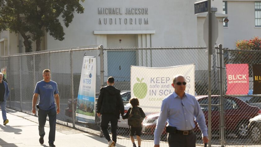 LOS ANGELES, CA - APRIL 23, 2019 - Michael Jackson's name is on the auditorium at Gardner Street Ele