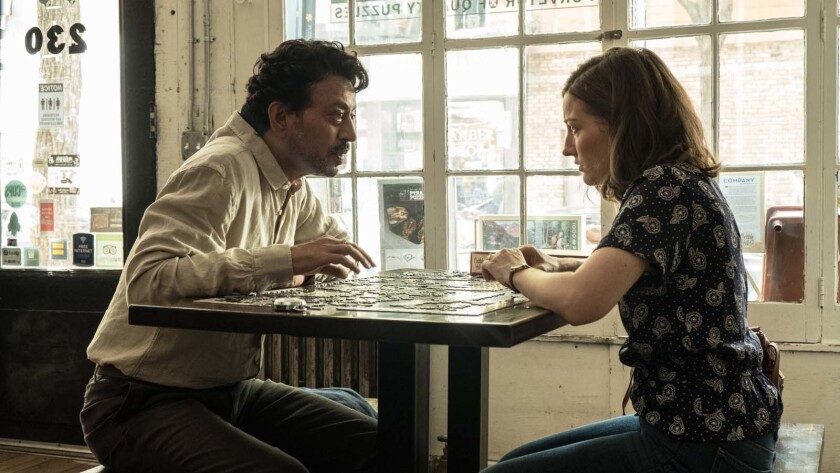 """Irrfan Khan as Robert and Kelly Macdonald as Agnes in """"Puzzle"""""""