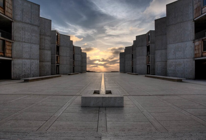 The Salk Institute, designed by Louis Kahn for scientist Jonas Salk in La Jolla in 1965.
