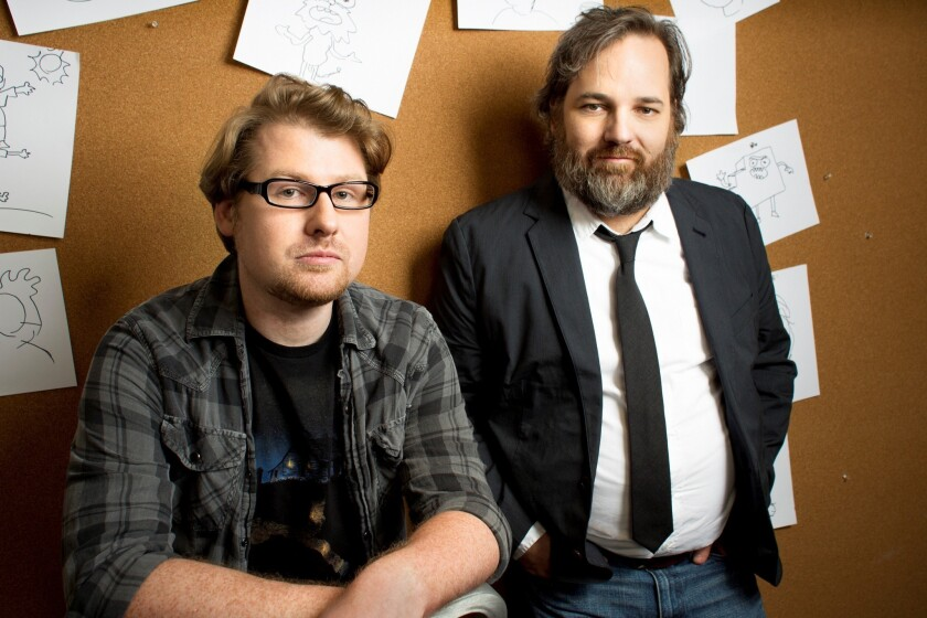 """Actor/writer Justin Roiland, left, and Dan Harmon are the pair behind Adult Swim's animated series """"Rick and Morty."""""""