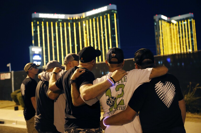 Survivors return to the scene of the Las Vegas mass shooting.