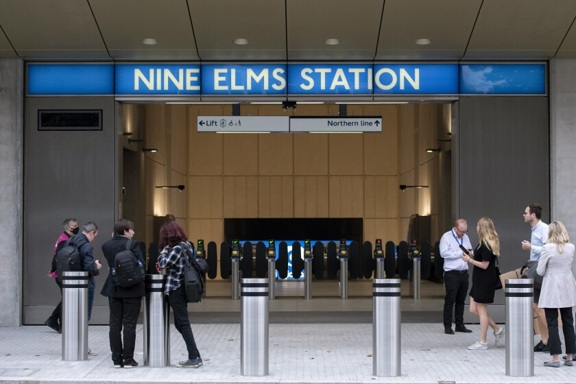 A general view of Nine Elms London Underground station, one of two new tube stations, that has opened on the extension of the Northern line, in London, Monday, Sept. 20, 2021. London's subway has opened two new stations in the network's first expansion since the 1990s. It's an expansion that Mayor Sadiq Khan said will play a key role in the capital's recovery from the pandemic. The two new Northern Line stations are at the Battersea Power Station and Nine Elms, both south of the River Thames and in areas of southwest London that have seen massive building and regeneration work in recent years. (David Mirzeoff/PA via AP)