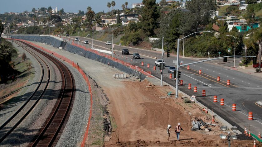 SAN DIEGO, CALIF. -- WEDNESDAY, JANUARY 30, 2019: Construction workers build the Mid-Coast Corridor
