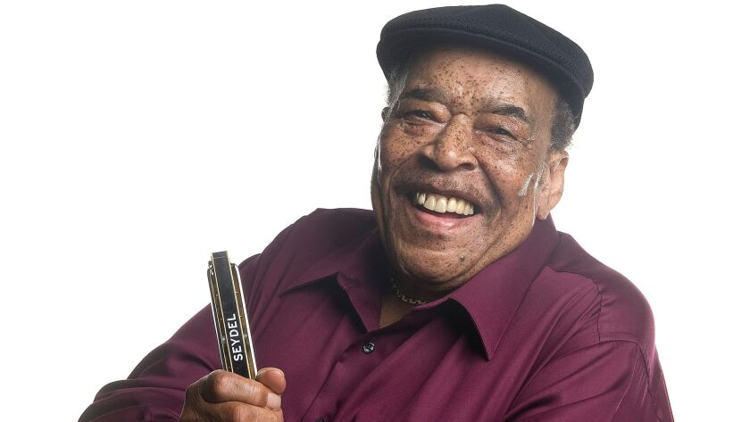 Blues harmonica giant James Cotton is shown in 2005., He died Thursday at the age of 81.