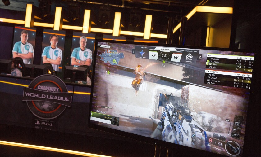 "Two teams vie in a ""Call of Duty"" post-season tournament in Burbank, organized by Activision Publishing in April."