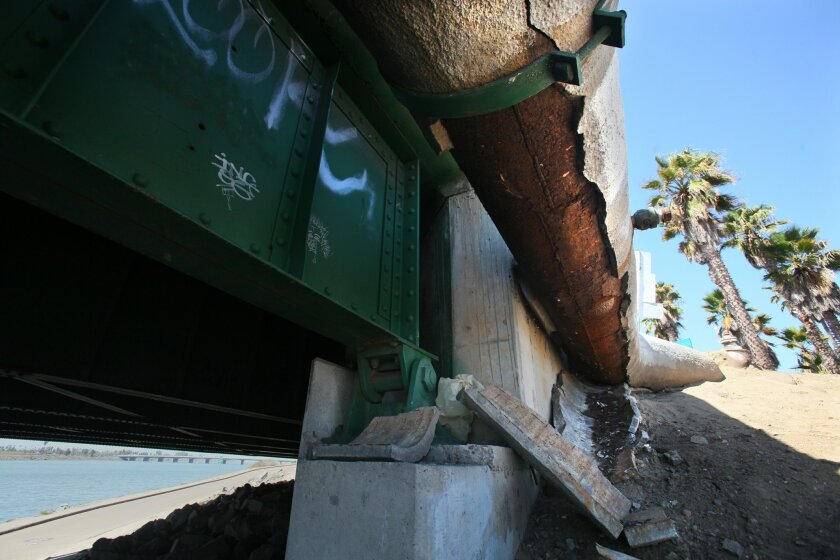This 2014 photo shows concrete is falling off a pipe on the east side of the Sports Arena Boulevard bridge into the dirt. Some of San Diego's bridges are slated to get a make over, largely to address stability of infrastructure issues. Others will be widened to add bike lanes.