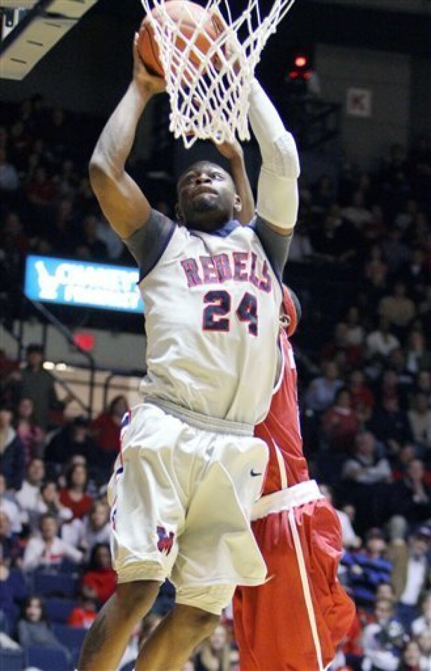 Mississippi guard Terrico White (24) makes a second half layup against Alabama during their NCAA college basketball game in Oxford, Miss., Saturday, Feb. 6, 2010. No. 25 Mississippi won, 74-67. (AP Photo/Rogelio V. Solis)