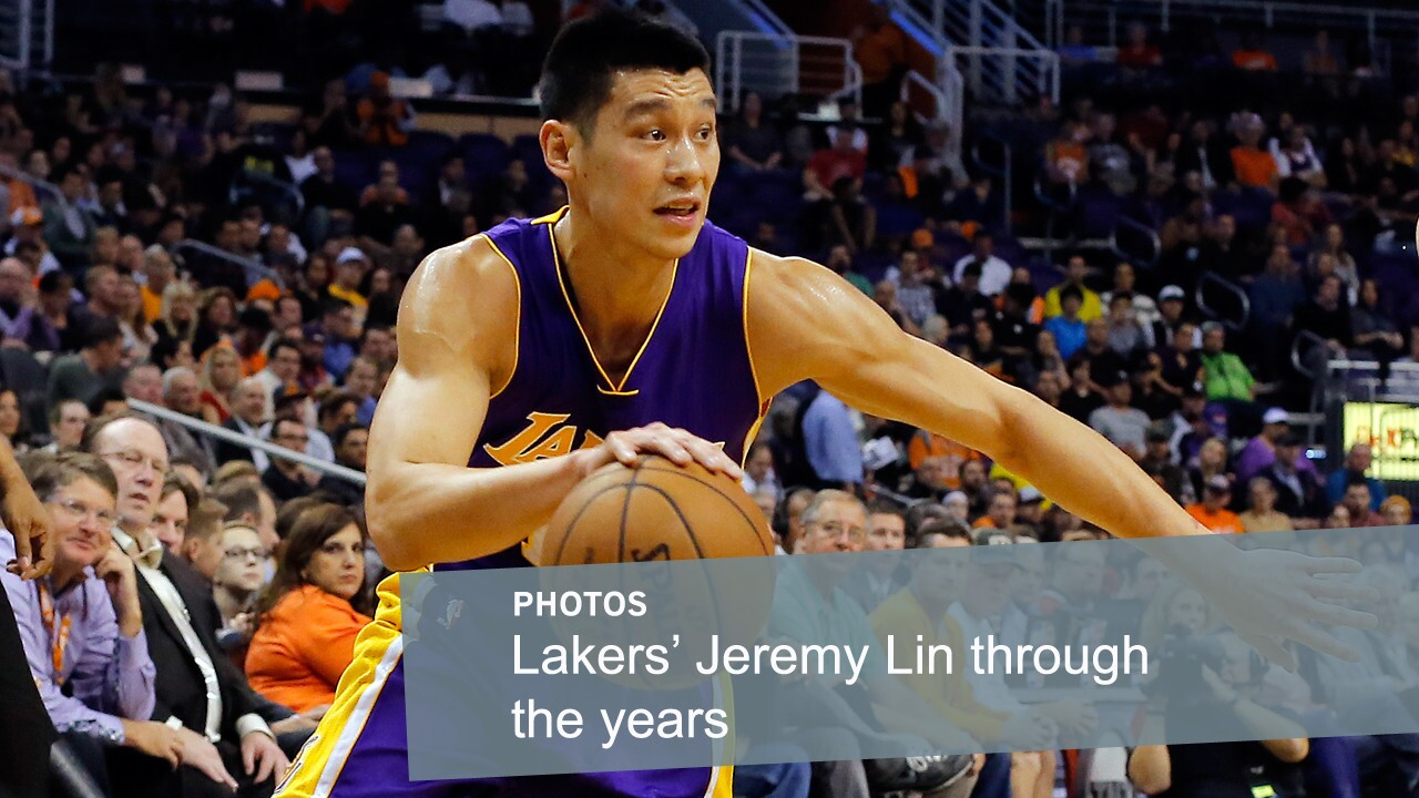 Lakers guard Jeremy Lin drives to the basket during a game against the Phoenix Suns on Jan. 19, 2015. Lin signed with the Lakers during the off-season before the 2014-15 season.