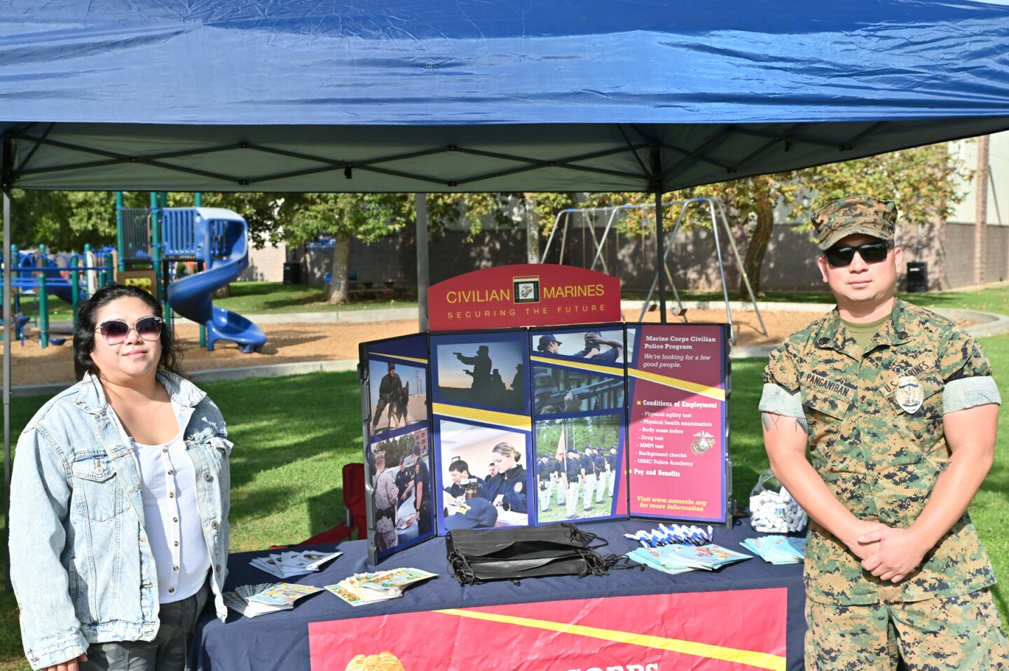 Roxanne Riego and Kenneth Panganiban representing the Marine Corps Air Station Miramar Police Department.