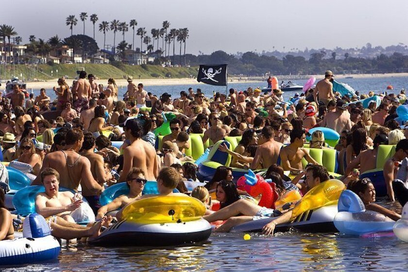 Unable to drink alcohol on the beach, partiers organized this floatopia to legally imbibe in the shallow waters of Mission Bay