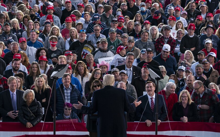 President Trump speaks to a mostly white crowd at a campaign rally Sept. 18 at a Bemidji, Minn., airport.