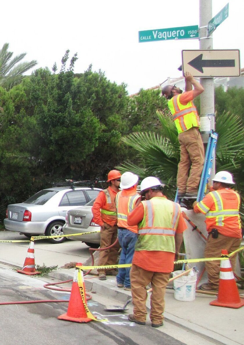 Crown Castle GT Company, a contractor for cell phone providers such as Verizon, T-Mobile and AT&T, installed a DAS wireless communications antenna and related, ground-level equipment in front of this property at Westknoll Drive and Calle Vaquero June 29.