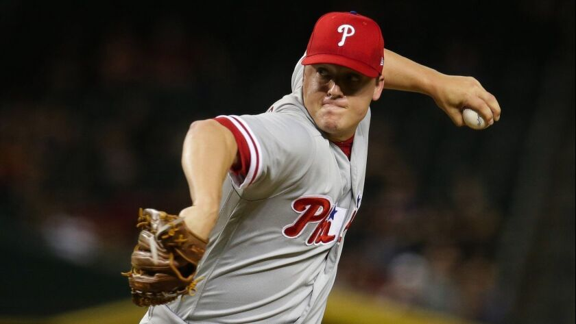 Philadelphia Phillies relief pitcher Aaron Loup (47) in the first inning during a baseball game agai