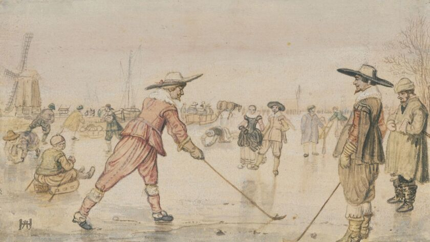 """Hendrick Avercamp's """"A Winter Scene with Two Gentlemen Playing Colf"""" is among the works on display in """"Masterful Likeness: Dutch Drawings of the Golden Age"""" at the Getty Center."""