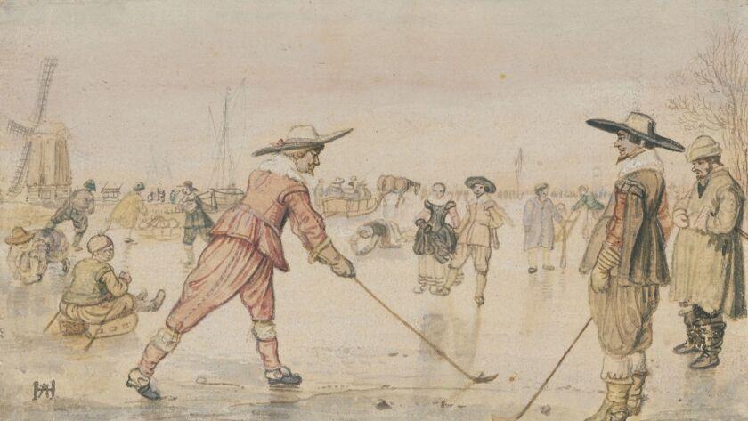 A Winter Scene with Two Gentlemen Playing Colf; Hendrick Avercamp (Dutch, 1585 - 1634); Netherlands;