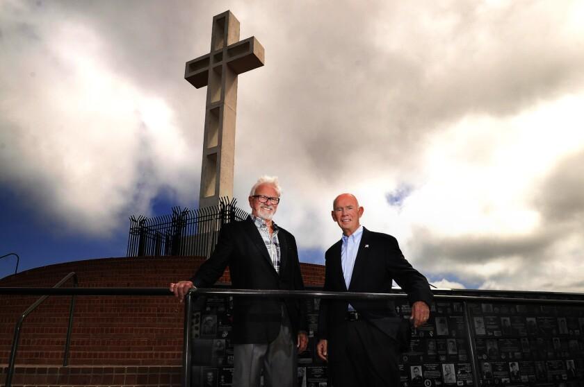 Mt. Soledad Memorial Association leadership committee chair Richard Woltman and president Lou Scanlon.