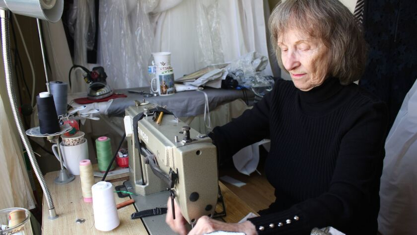 Kiki still sews at age 78. She learned her craft at age 9 in Greece.