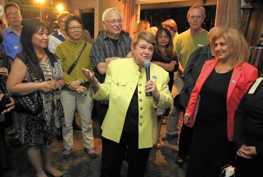 """Sheila Kuehl speaks at an election night party. """"She's tough, she's got backbone, and I don't think she can be pushed around,"""" outgoing Supervisor Zev Yaroslavsky says."""