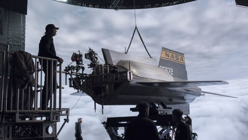 FOR ENVELOPE PRODUCTION DESIGN STORY 12/13/2018: The mounted X-15 in front of the LED screen (DP Lin