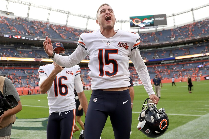 Bears kicker Eddy Pineiro celebrates after making a 53-yard field goal as time expired to lift Chicago to victory over the Denver Broncos on Sunday.