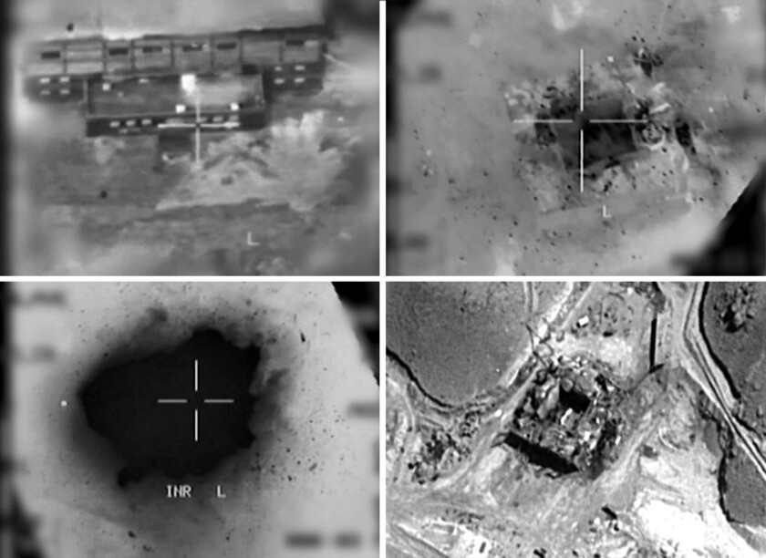 Images provided by the Israeli army reportedly show an aerial view of a suspected Syrian nuclear reactor being bombed in 2007.