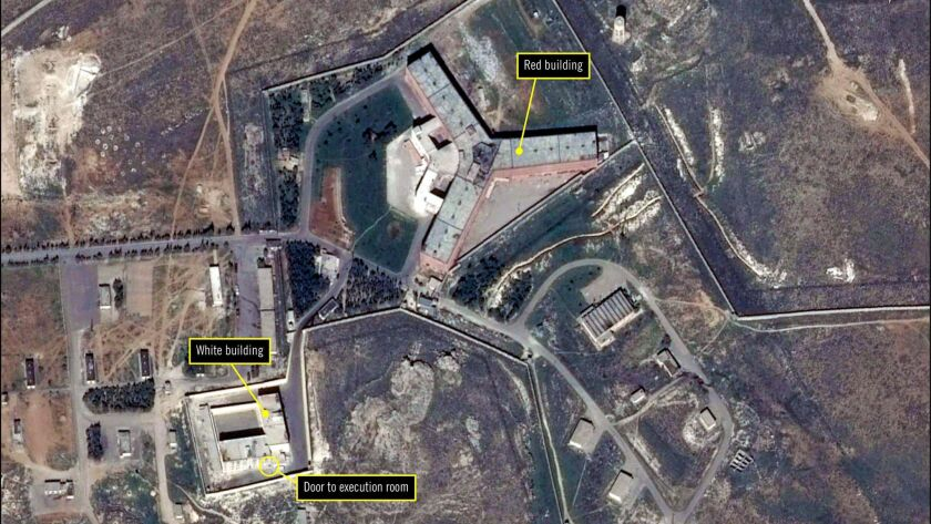 A satellite image released Tuesday by Amnesty International shows the military-run Saydnaya prison in Syria.
