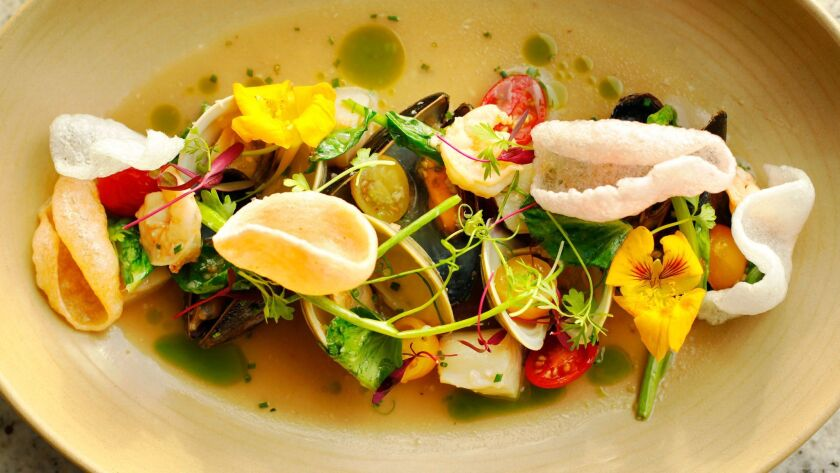 """Seafood Sinigang by executive chef Danilo """"DJ"""" Tangalin at Tidal restaurant at the Paradise Point Resort & Spa."""
