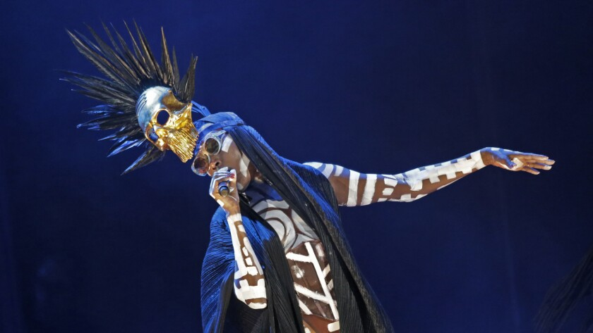 Grace Jones performs Sunday night at the Hollywood Bowl in Los Angeles.