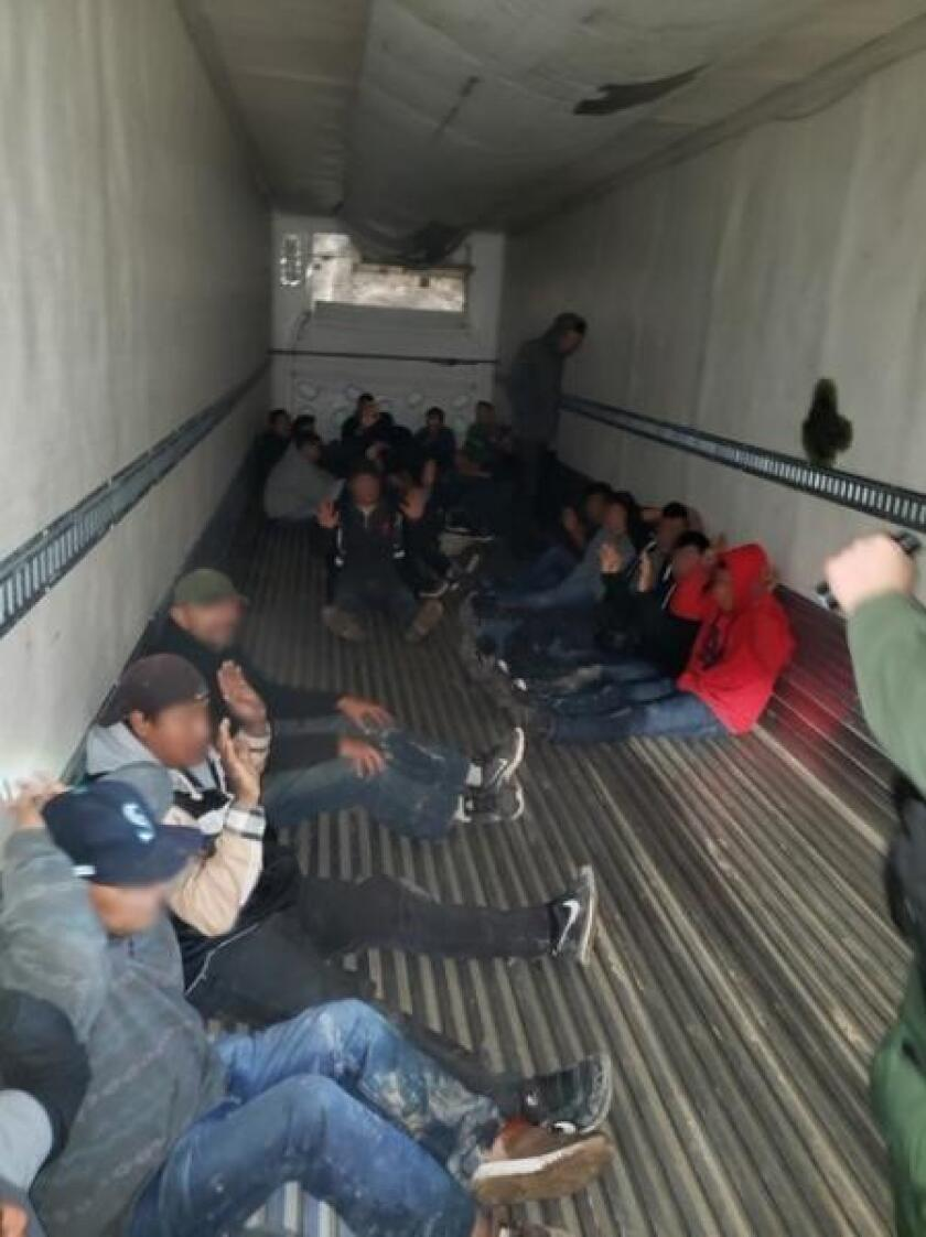 Border Patrol agents found 26 people inside a tractor-trailer Wednesday night near the Salton Sea.
