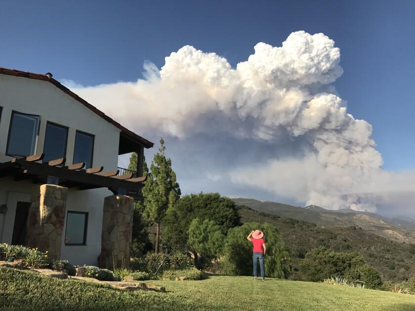 The Whittier fire burns in the Santa Ynez Mountains near Goleta.