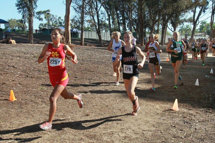 Mt. Carmel's Laura Moran (left) makes her move at the Mt. Carmel Invitational in Balboa Park.