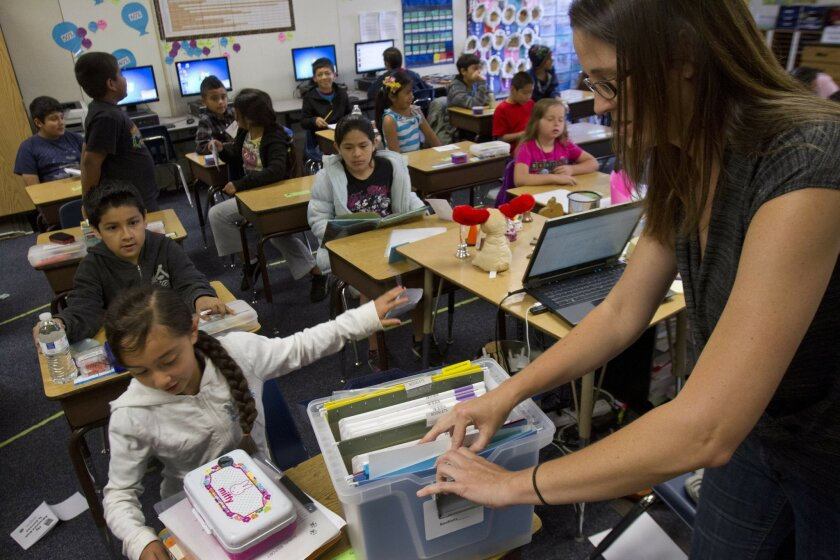 At Beaumont Elementary School in Vista, third-grade teacher Kristina Woods prepared her class for a standardized testing in April of this year.