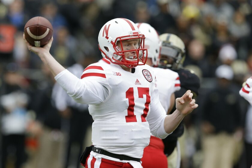 Nebraska quarterback Ryker Fyfe (17) throws against Purdue during the first half of an NCAA college football game in West Lafayette, Ind., Saturday, Oct. 31, 2015. (AP Photo/Michael Conroy)