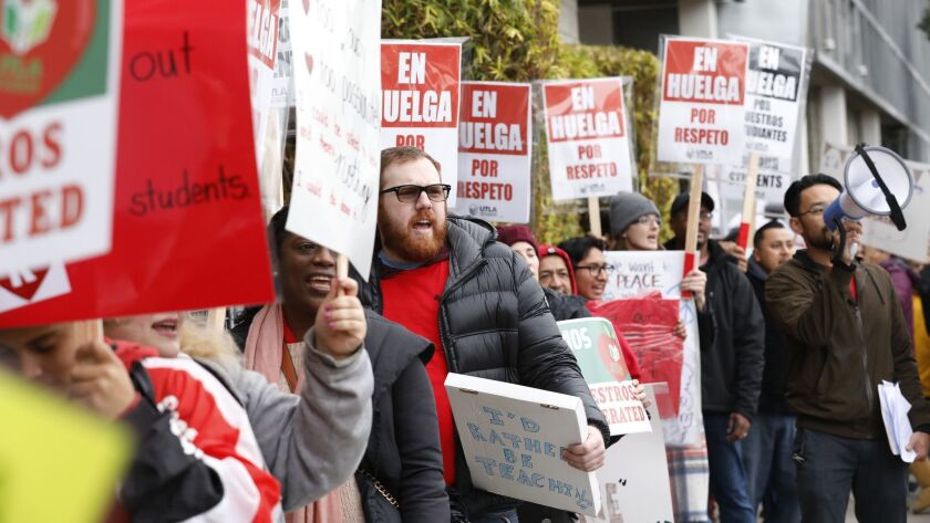 Teachers at the Accelerated Schools, a network of charter schools in South Los Angeles, picket Jan. 15.