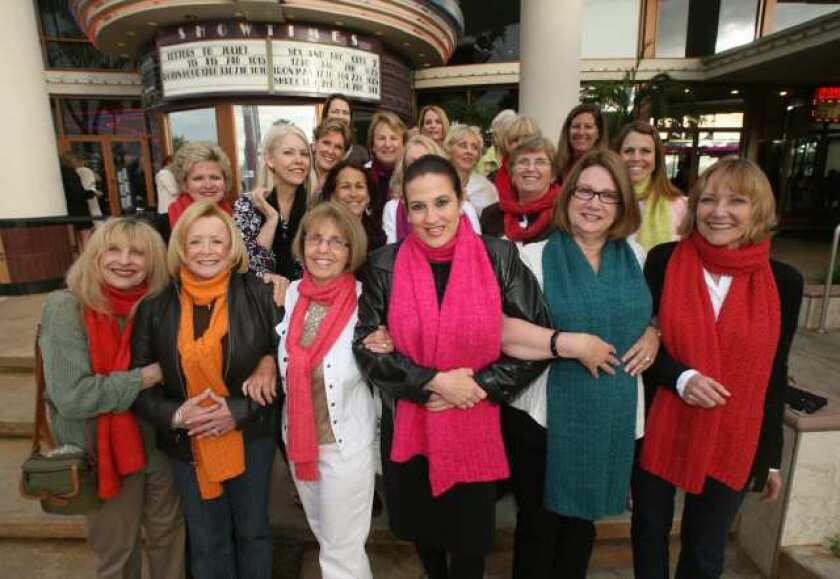"""""""Sex and the City"""" fans gather with their different colored scarves in front of Big Newport Theatre on opening night. Ffront row: Golda Imbernino, Char Norton, Carolyn Branda, Lauren Howith, Diane Harris and Sue Ducker, left to right."""