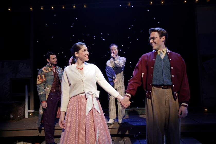 """Perry Ojeda, from left, Addi McDaniel, Nate Dendy and Anthony Carillo in """"The Fantasticks"""" at South Coast Repertory."""