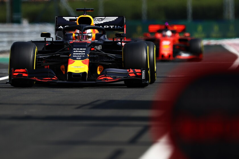 BUDAPEST, HUNGARY - AUGUST 03: Max Verstappen of the Netherlands driving the (33) Aston Martin Red Bull Racing RB15 in the Pitlane during qualifying for the F1 Grand Prix of Hungary at Hungaroring on August 03, 2019 in Budapest, Hungary. (Photo by Mark Thompson/Getty Images) ** OUTS - ELSENT, FPG, CM - OUTS * NM, PH, VA if sourced by CT, LA or MoD **