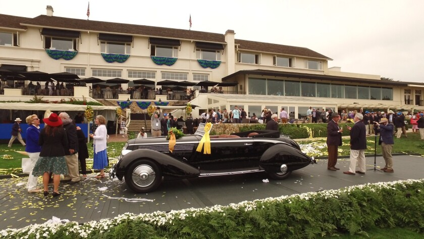 The Pebble Beach Concours d'Elegance best of show award was won by a 1936 Lancia Astura Cabriolet.