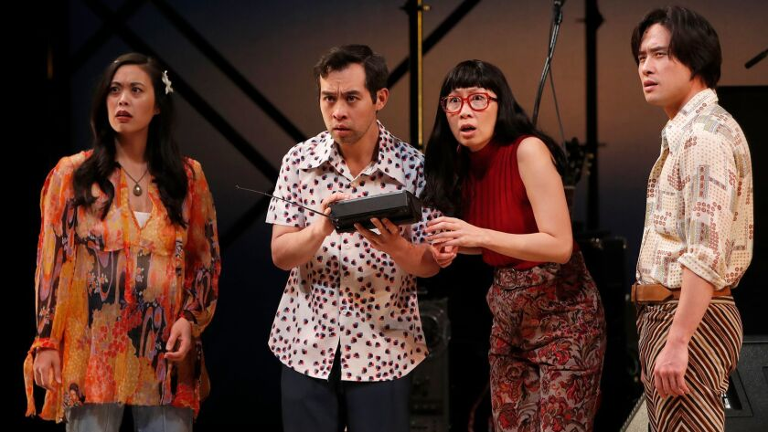 """From left, Brooke Ishibashi, Joe Ngo, Jane Lui and Raymond Lee rehearse for """"Cambodian Rock Band"""" at South Coast Repertory in Costa Mesa."""