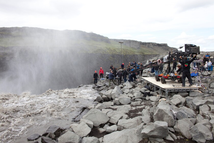 "A scene from the filming of ""Prometheus,"" which shot in Iceland"