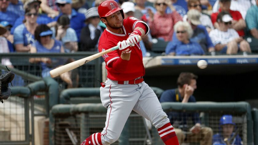 Los Angeles Angels' David Fletcher hits against the Kansas City Royals during the first inning of a