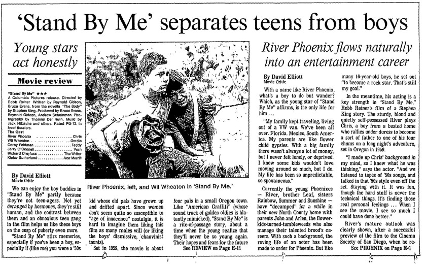 """""""Stand By Me"""" review published in The San Diego Union, Aug. 22, 1986."""
